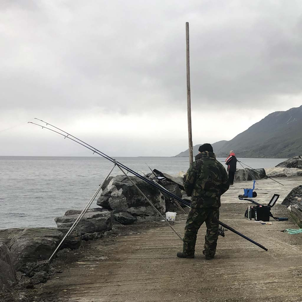 Fishing from a breakwater in the north of Norway